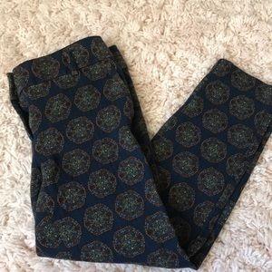 Loft cropped navy printed pants
